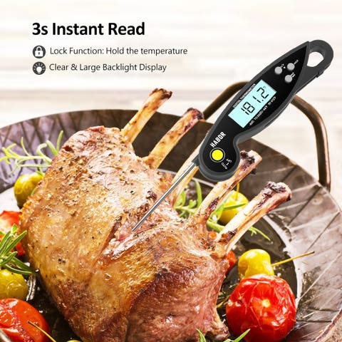 Habor Digital Instant Read Food Cooking Thermometer IPX6 Waterproof Ultra-Fast Grill Thermometer with LCD Ambidextrous Display