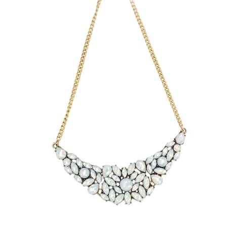 Women Statement Necklace Fashion Jewelry Floral Necklaces Off-White Stone for Ladies Gift