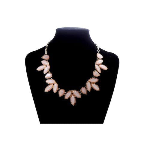 Gold Statement Necklace for Women Fashion Jewelry Peach Stone Studded Floral Necklaces