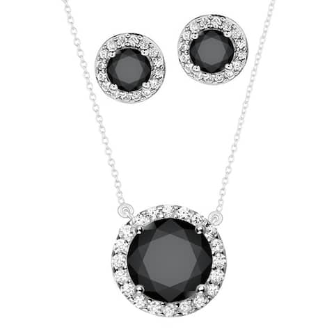 """Set of Sterling Silver Halo Pendant and Earring Set with Natural Black Spinel and White Topaz 18"""" Chain"""