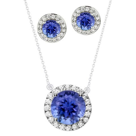 """Set of Sterling Silver Halo Pendant and Earring Set with Natural Tanzanite and White Topaz 18"""" Chain"""