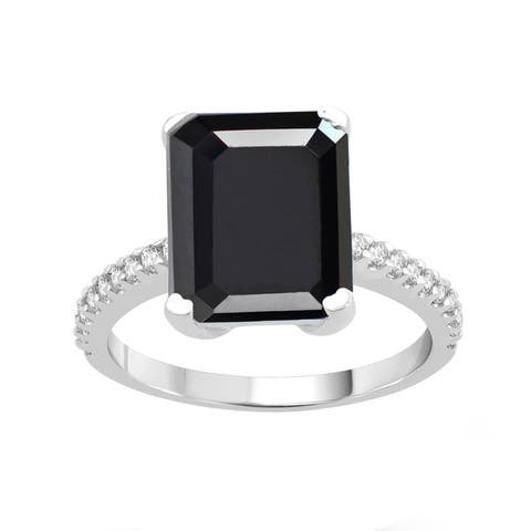 Sterling Silver with Natural Black Spinel and White Topaz Solitaire Ring