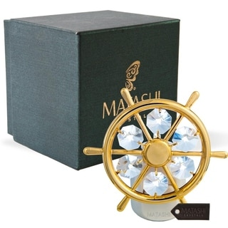 24K Gold Plated Crystal Studded Captains Wheel Night Light