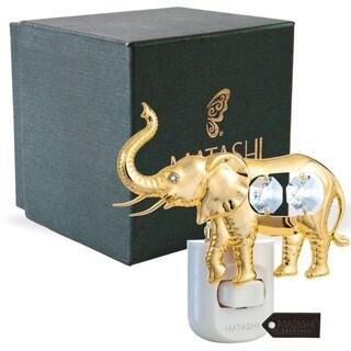 24K Gold Plated Crystal Studded Elephant Night Light