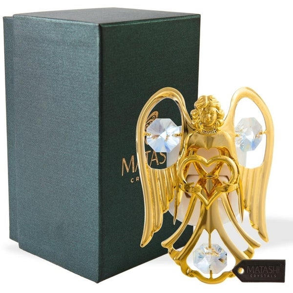 24K Gold Plated Crystal Studded Angel with Heart Night Light
