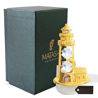 24K Gold Plated Crystal Studded Lighthouse Night Light