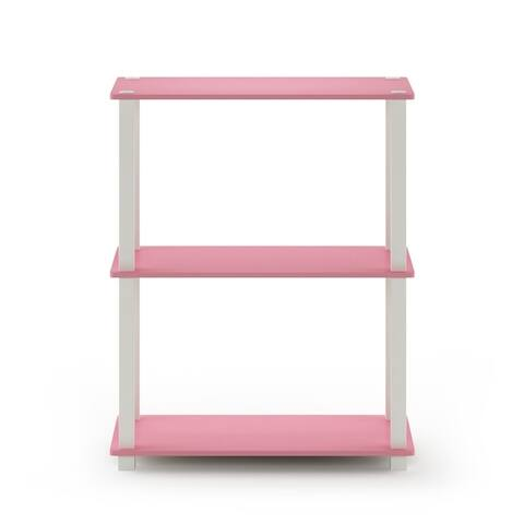 Furinno Turn-S-Tube 3-Tier Compact Multipurpose Shelf Display Rack with Square Tube, Beech/White