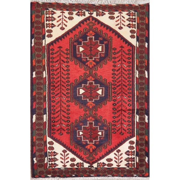 "Hamedan Oriental Hand Knotted Persian Tribal Wool Area Rug - 4'9"" x 3'3"""