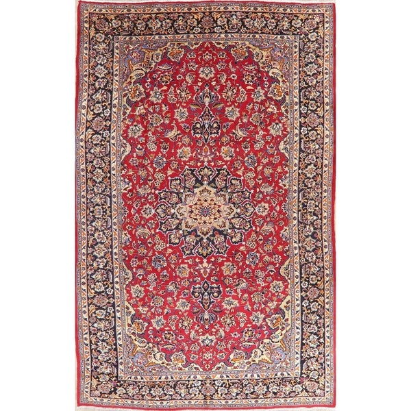 """Isfahan Oriental Vintage Hand Knotted Wool Persian Medallion Area Rug - 12'10"""" x 8'2"""""""