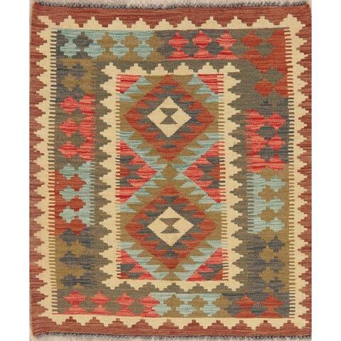 "Flatweave Hand Woven Kilim Turkish Southwestern Oriental Area Rug Wool - 3'10"" x 3'3"""