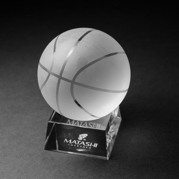 Crystal Paperweight with Etched Basketball Ornament