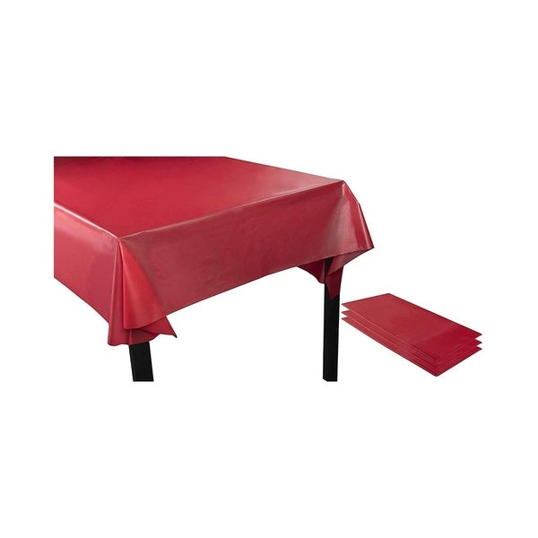 """3PCS 54 x 108"""" Disposable Plastic Rectangular Table Covers Tablecloths 8ft. Red"""