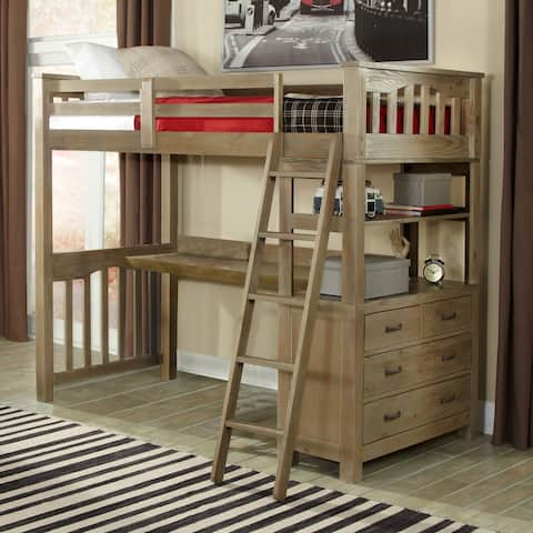 Highlands Loft Bed w/ Hanging Nightstand & Desk (Does NOT Include Chair)
