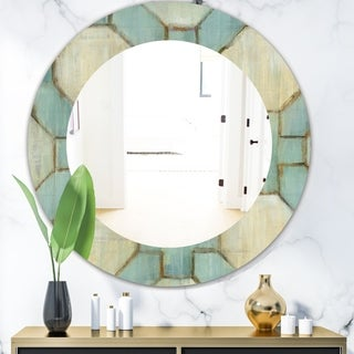 Designart 'Geometric Title Element' Modern Mirror - Oval or Round Wall Mirror - Multi
