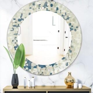 Designart 'Geometric Blue Spots' Modern Mirror - Oval or Round Wall Mirror