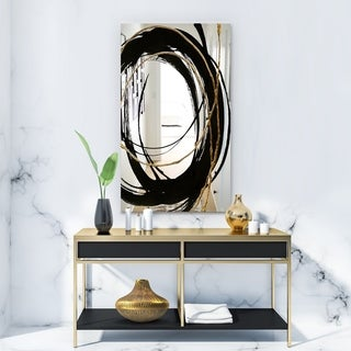 Designart 'Black & White 10' Glam Mirror - Vanity Mirror - Black