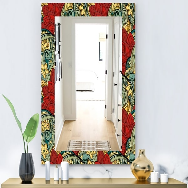 Designart 'Colorful Floral Pattern' Bohemian and Eclectic Mirror - Modern Wall Mirror - Red
