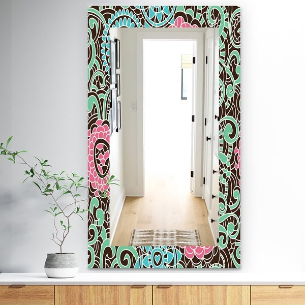 Designart 'Pink Blossom 26' Traditional Mirror - Wall Mirror - Pink