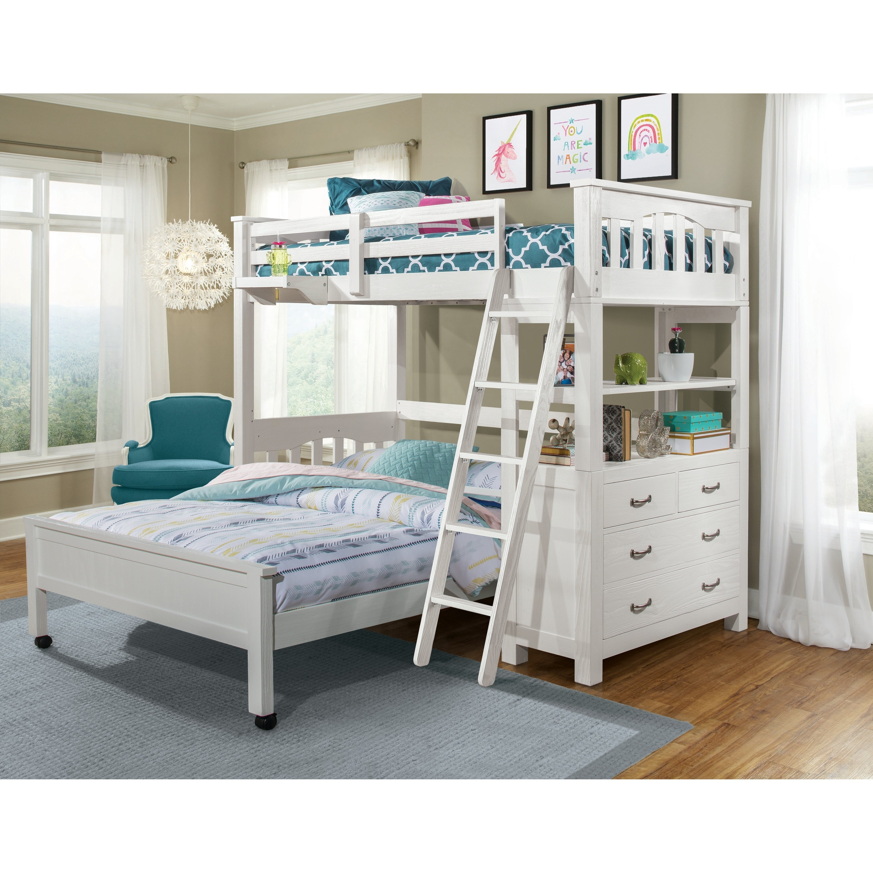 Highlands Loft Bed With Lower Bed And Hanging Nightstand Overstock 28564100