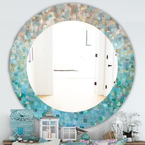 Silver Orchid Brian 'Blocked Abstract' Traditional Mirror - Blue