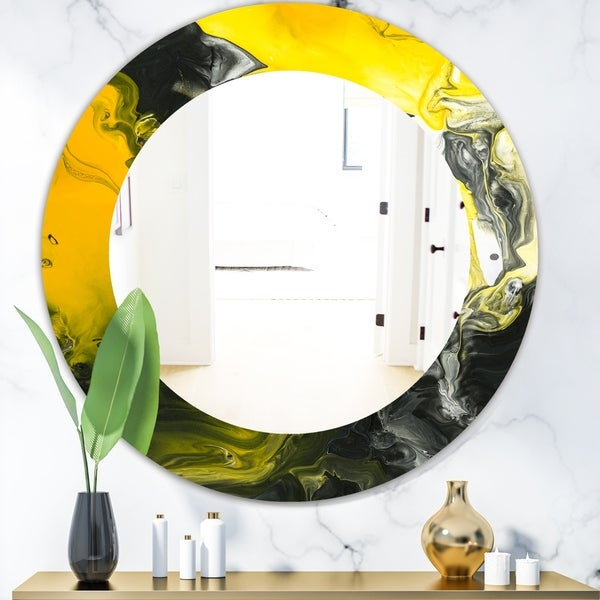 Designart 'Marbled Yellow 1' Modern Mirror - Oval or Round Wall Mirror - Gold