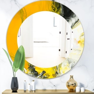 Designart 'Marbled Yellow 6' Modern Mirror - Oval or Round Wall Mirror - Gold