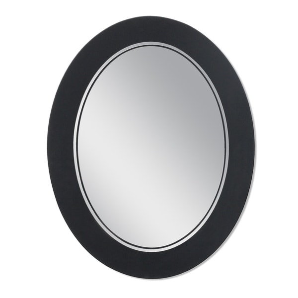 Headwest 23 x 29 Frosted Matte Black Oval Wall Mirror