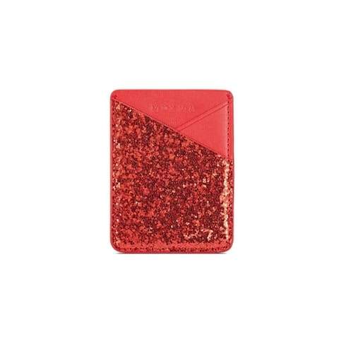 Glitter Faux Leather Cell Phone Sticker Credit Card Holders 2 Pieces