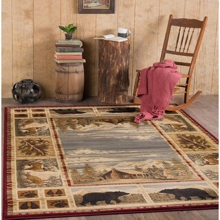 Alise Rugs Natural Lodge Novelty Lodge Area Rug