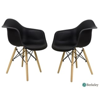 Set of 2 Mid Century Modern Molded Style LILY Dining Arm Chairs (Black) - Medium