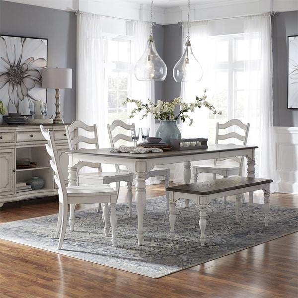 Shop Magnolia Manor Antique White 6 Piece Leg Table Set