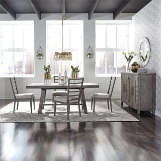Modern Farmhouse Dusty Charcoal 5-piece Trestle Table Set