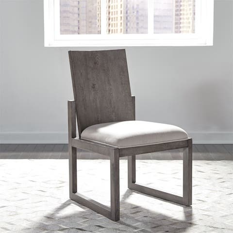 Modern Farmhouse Dusty Charcoal Panel Back Side Chairs (Set of 2)