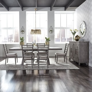 The Gray Barn Hammond Mill Modern Farmhouse Dusty Charcoal 7-piece Trestle Table Set