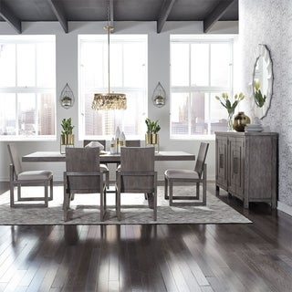 The Gray Barn Hammond Mill Modern Farmhouse Dusty Charcoal Optional 7-piece Trestle Table Set