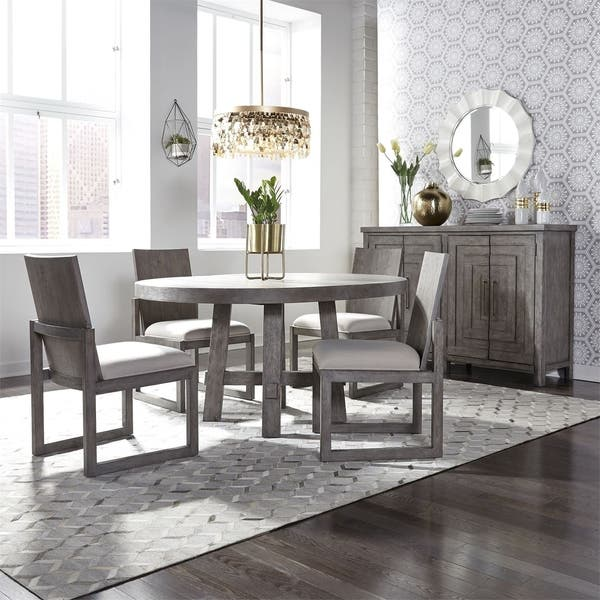 Shop The Gray Barn Hammond Mill Modern Farmhouse Dusty Charcoal Optional 5 Piece Round Table Set Overstock 28565484