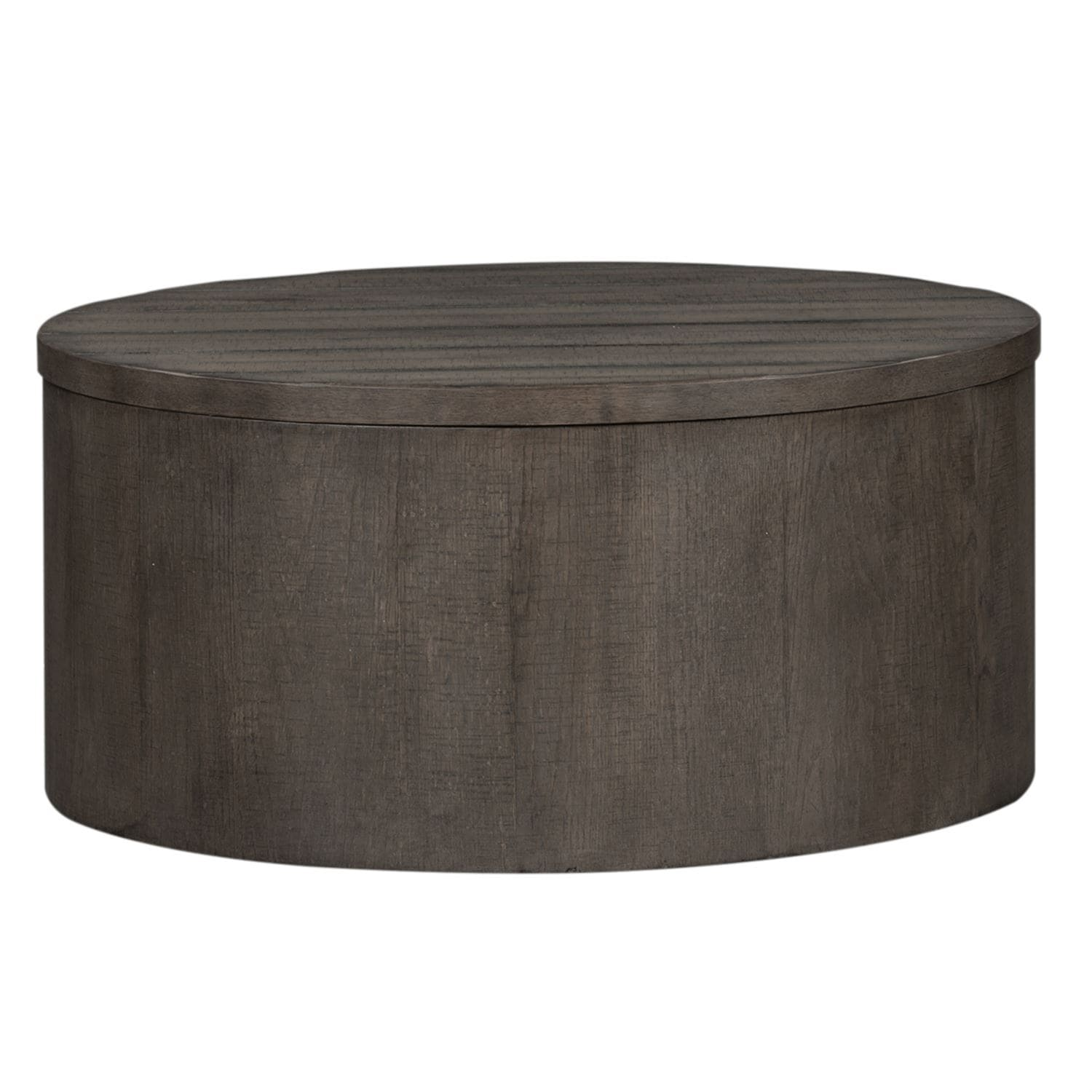 Shop Modern Farmhouse Dusty Charcoal Drum Cocktail Table On Sale