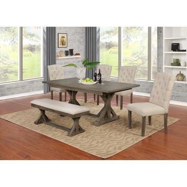 Best Quality Furniture 6-Piece Trestle Based Dining Set