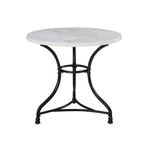 Callao 34-Inch Round Marble Bistro Table by Greyson Living - Black