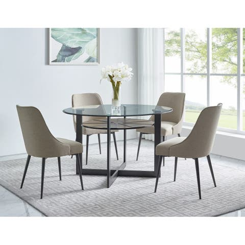 Orrick 48-Inch Round Glass Top Dining Set by Greyson Living