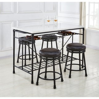 Callao Marble Kitchen Island 5-Piece Counter Height Dining Set by Greyson Living