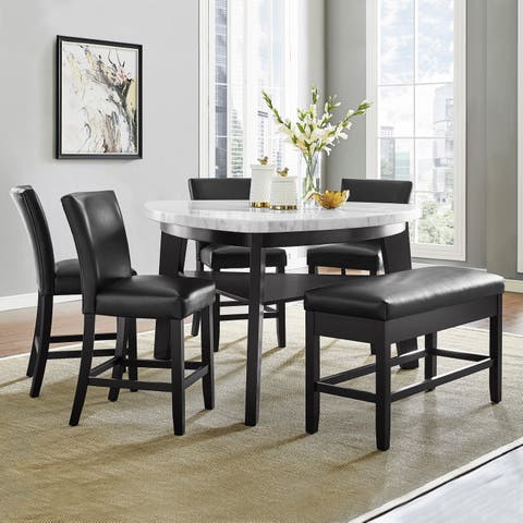 Concordia White Marble 6-Piece Counter Height Dining Set by Greyson Living