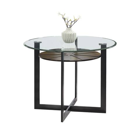 Orrick 48-Inch Round Glass Top Counter Height Dining Table by Greyson Living - Charcoal