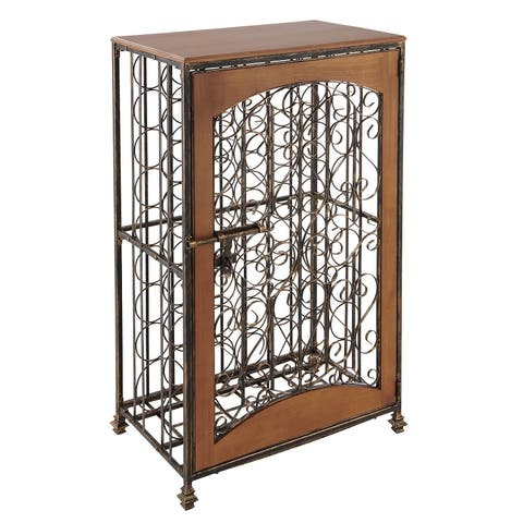 48-Bottle Antiqued Steel and Wooden Accent Wine Jail - N/A
