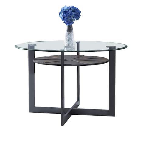 Orrick 48-Inch Round Glass Top Dining Table by Greyson Living - Charcoal