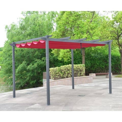 1bd1a0b434f4 ALEKO DIY Aluminum Outdoor Retractable Canopy Pergola 13 x 10 Ft Burgundy  Color