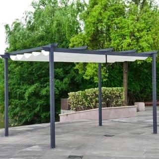 ALEKO DIY Frame Aluminum Outdoor Retractable Canopy Pergola 13 x 10 Ft White Color