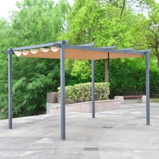 ALEKO DIY Frame Aluminum Outdoor Retractable Canopy Pergola 13 x 10 Ft Sand Color