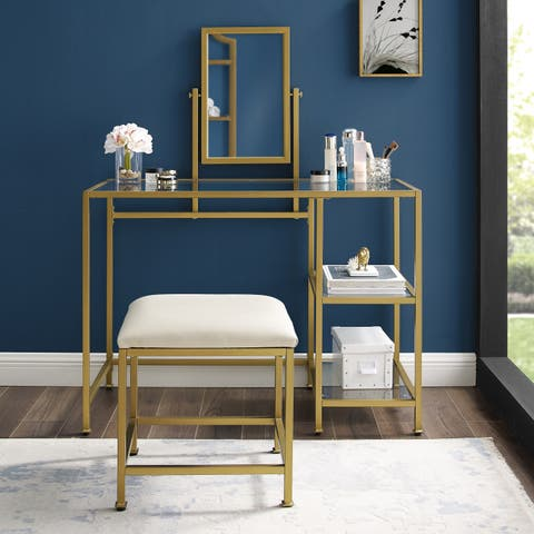Copper Grove Vertou Vanity, Mirror, and Stool Set with Goldtone Finish