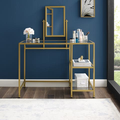 Copper Grove Vertou Vanity and Mirror Set with Goldtone Finish